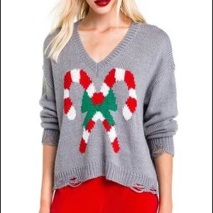 Wildfox Christmas Candy Canes Clement Sweater S